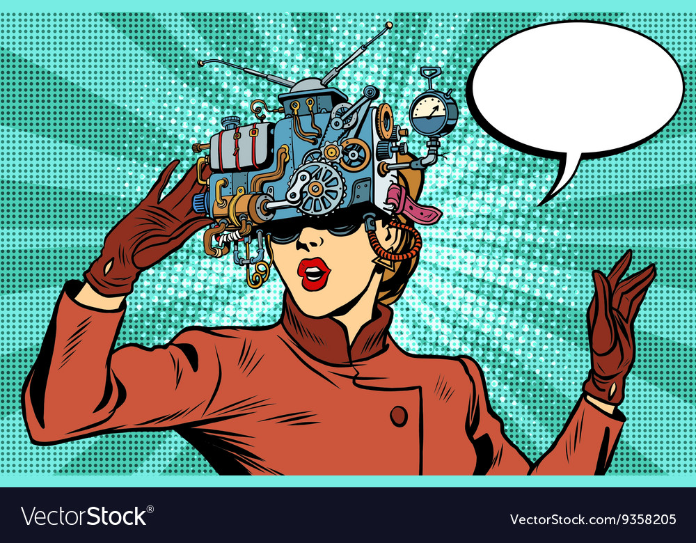 Virtual reality glasses retro girl science fiction vector