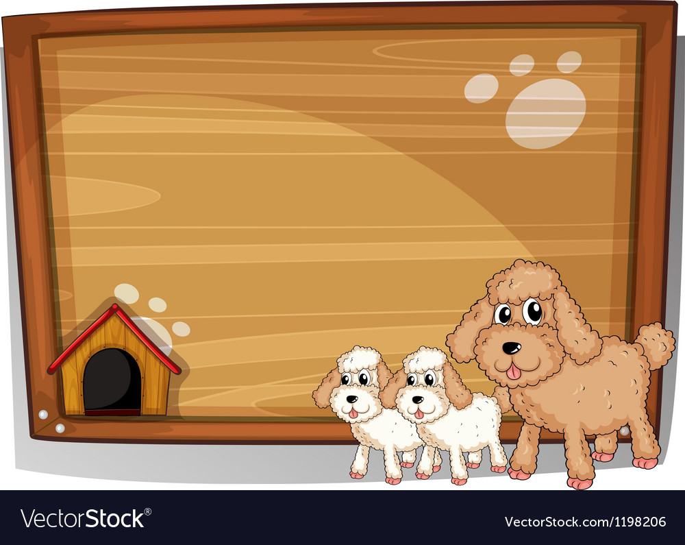 A dog and her puppies vector