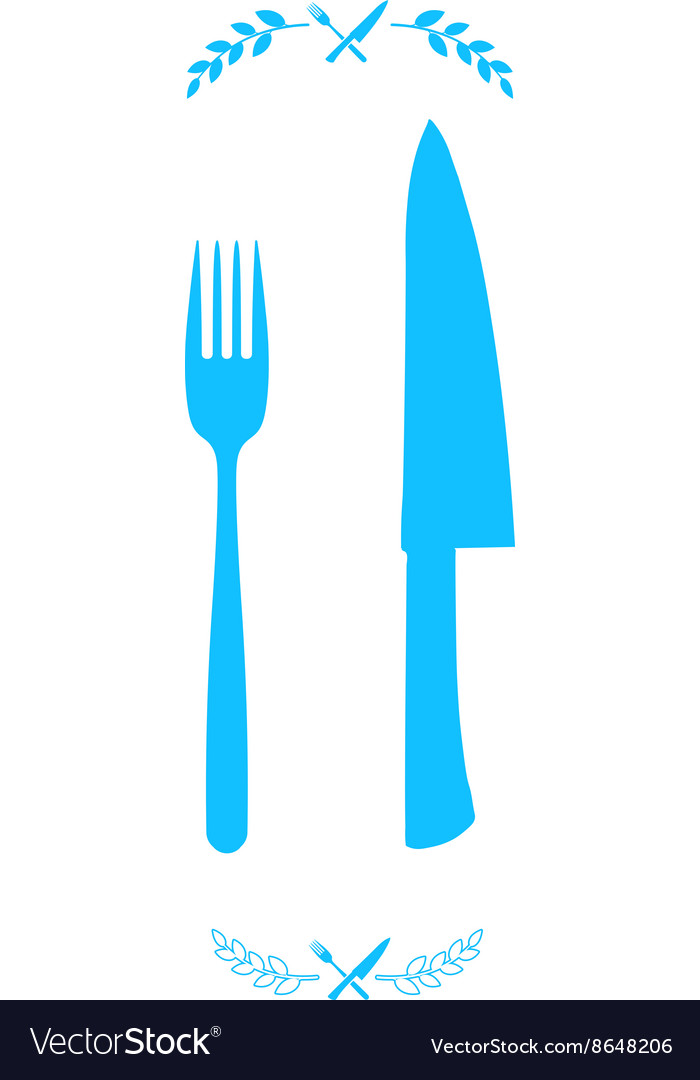 Blue chef knife and fork crossed in vector