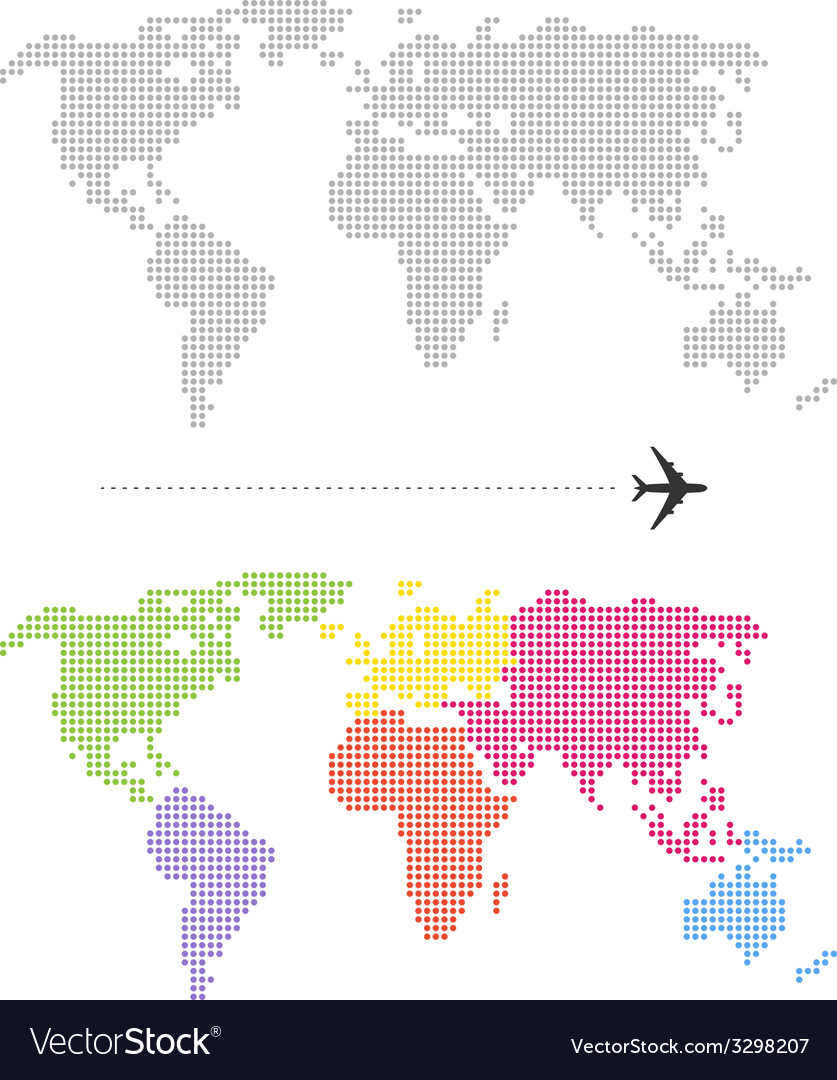 Color dotted world map vector