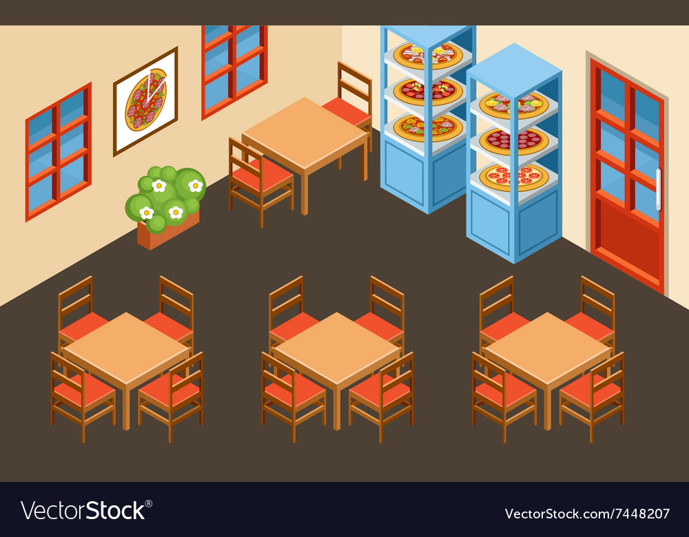Pizzeria interior vector