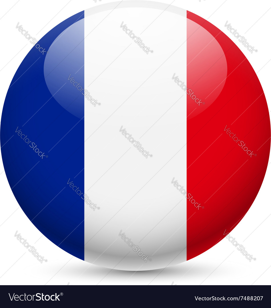 Round glossy icon of france vector