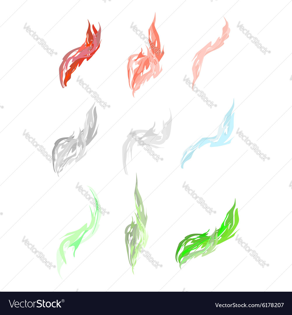 Set of acid fumes and smoke pink and green smoke vector