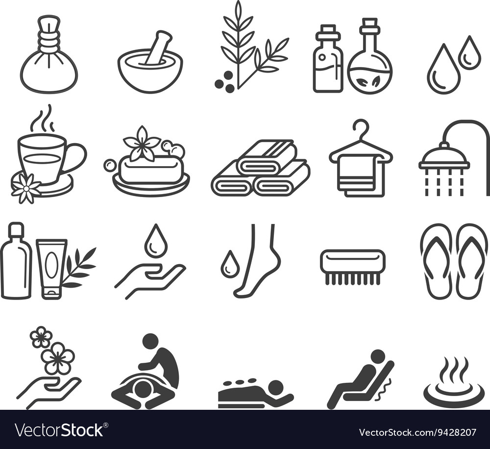 Spa massage therapy cosmetics icons vector