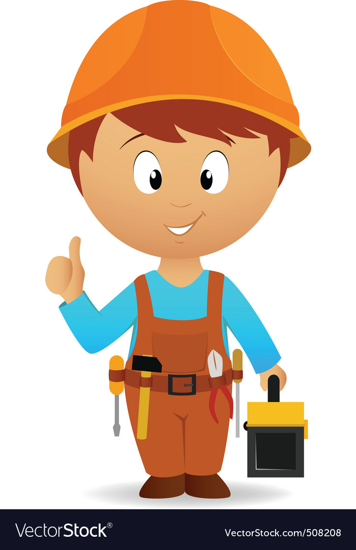 Cartoon handyman with tools belt and toolbox vector