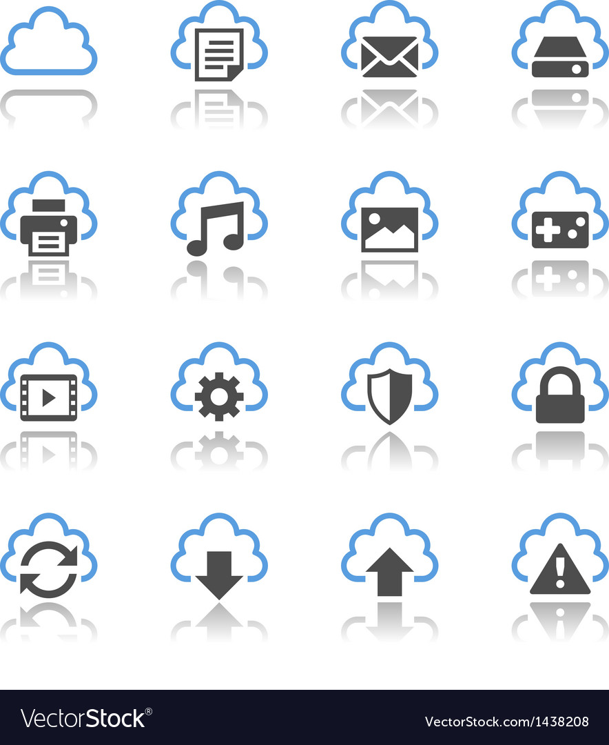 Cloud computing icons reflection vector