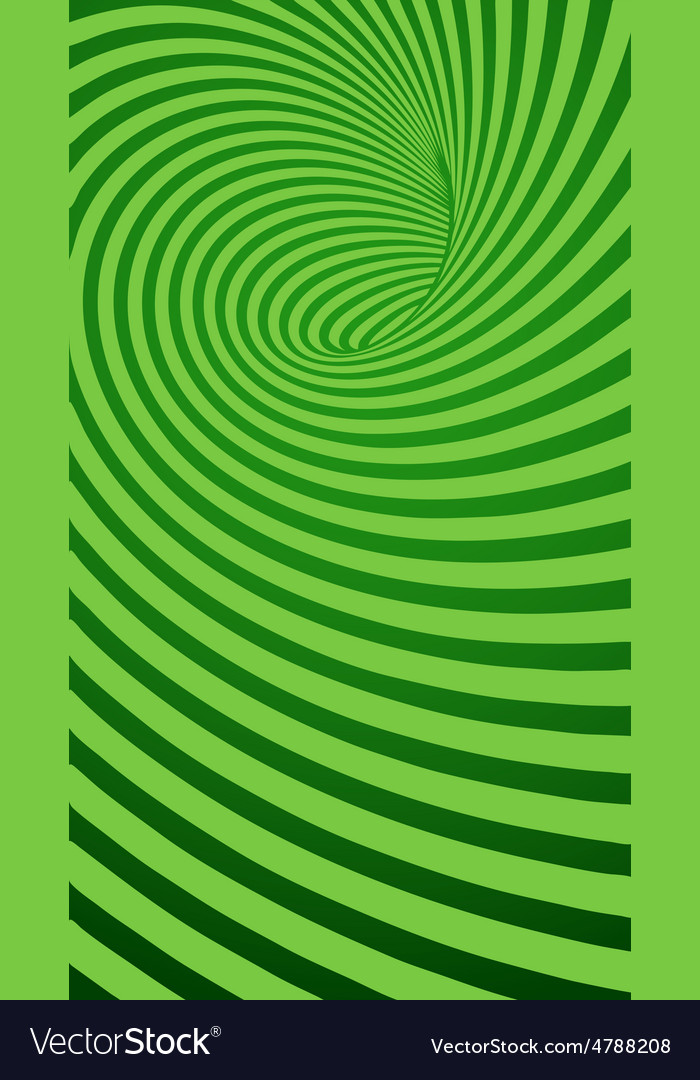 Green spiral striped abstract tunnel background vector