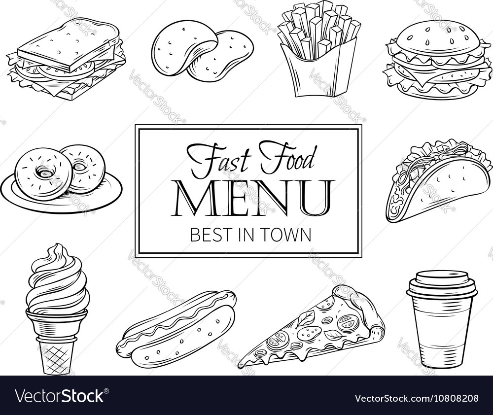Hand drawn icons fast food vector