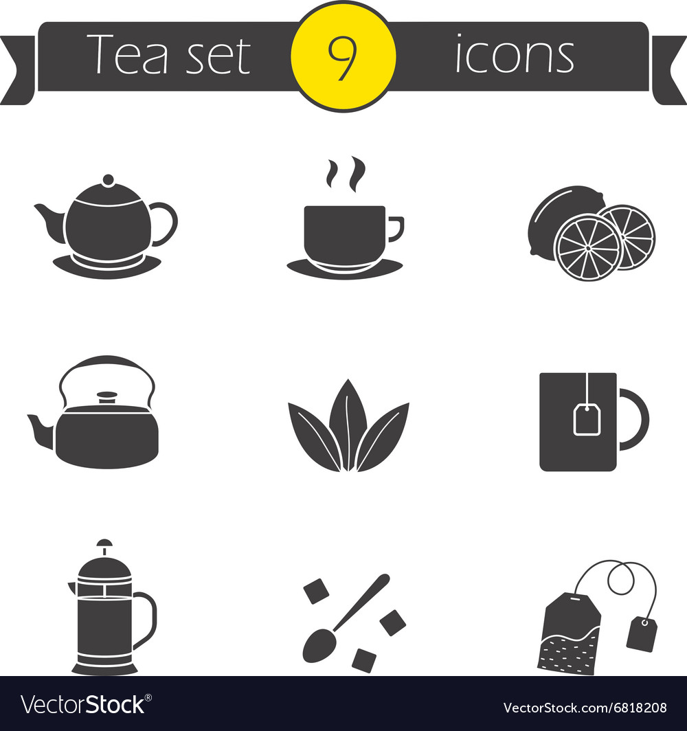 Tea silhouettes icons set vector