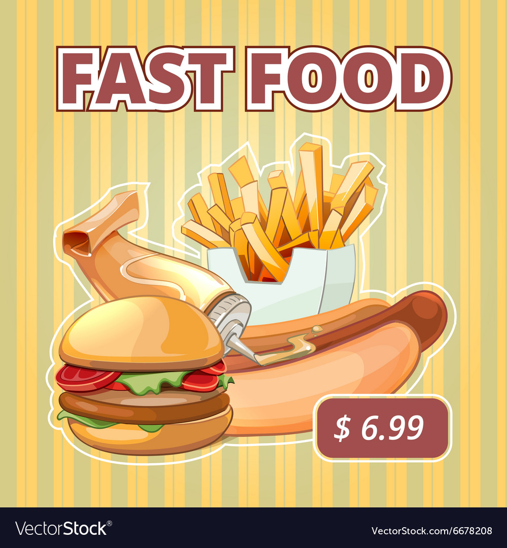 Vintage fast food menu poster vector
