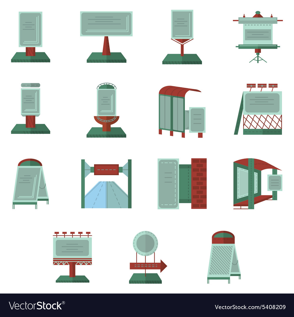 Advertisement flat color icons vector