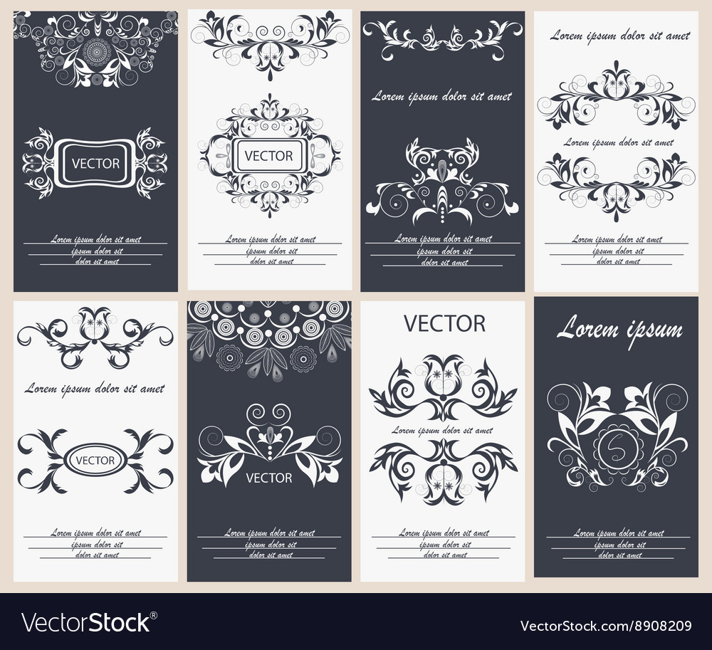 Set flyer design template elegant frame monogram vector