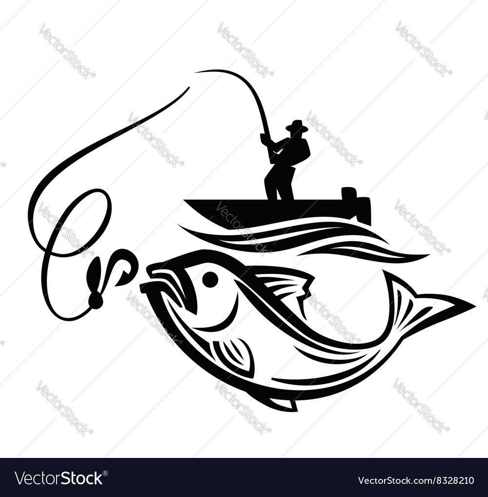 Black fisherman vector