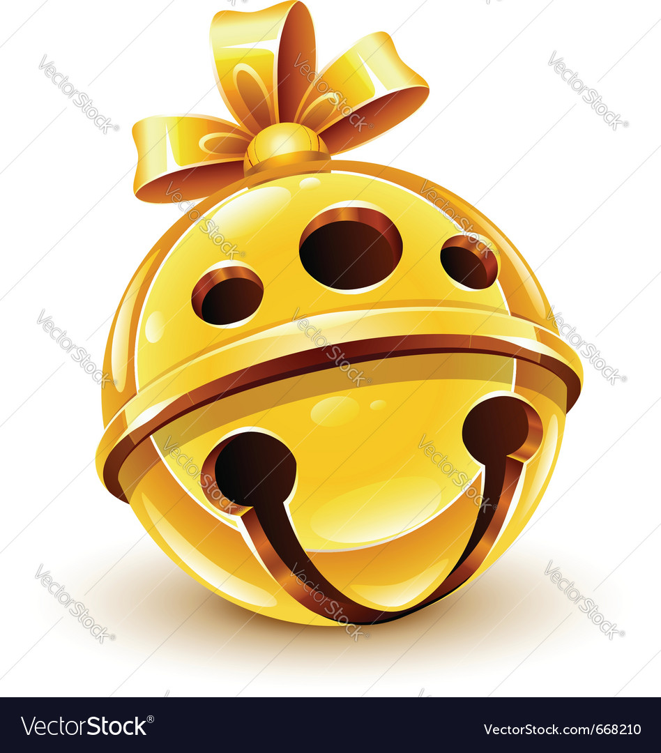 Christmas gold bell with bow vector