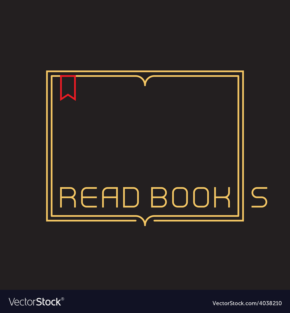 Outline open book with bookmark border with vector
