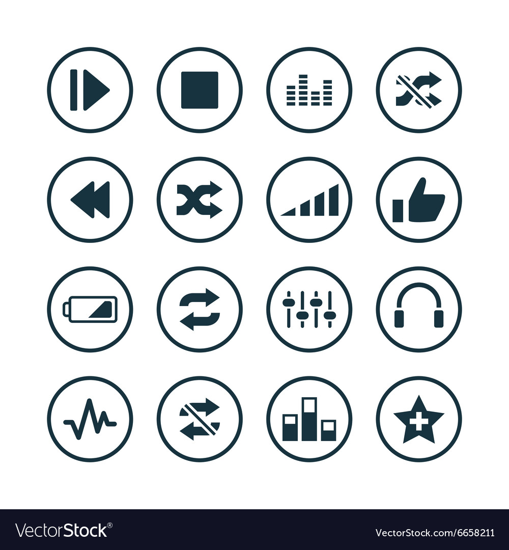 Audio icons universal set vector