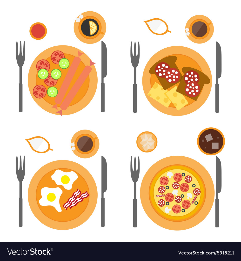 Breakfast icons flat set with four options of food vector