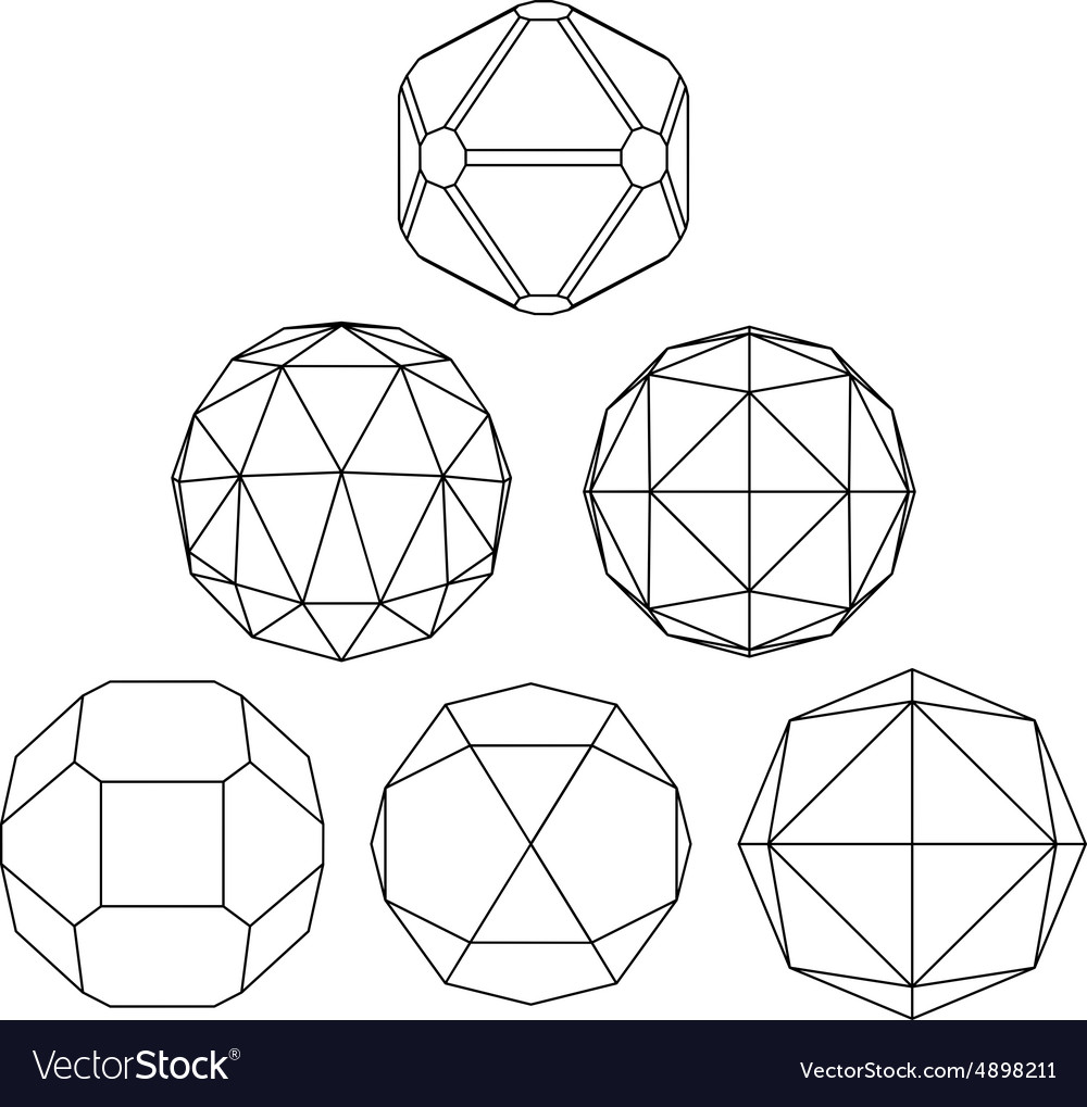 Collection of 6 black and white complex vector