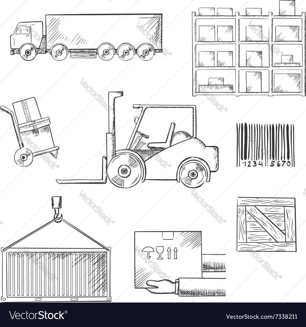 Delivery and shipping sketch icons vector