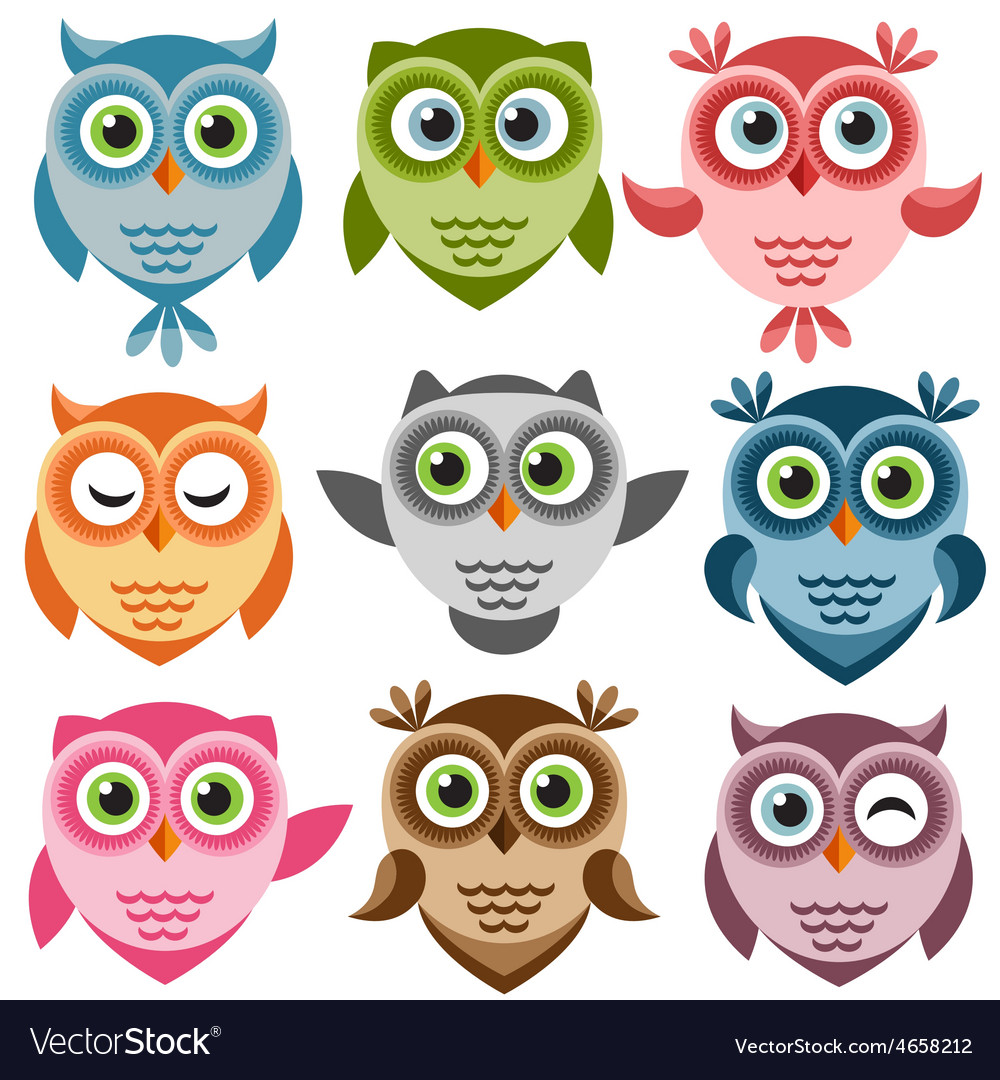 Set of cute cartoon owls vector