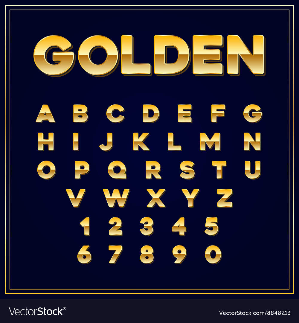Alphabetic fonts gold letter with numbers eps10 vector