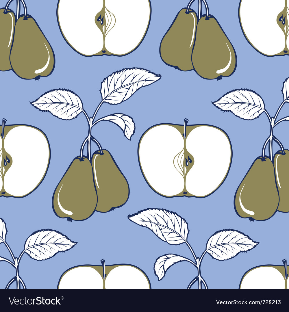 Apple and pear background pattern in blue and gree vector