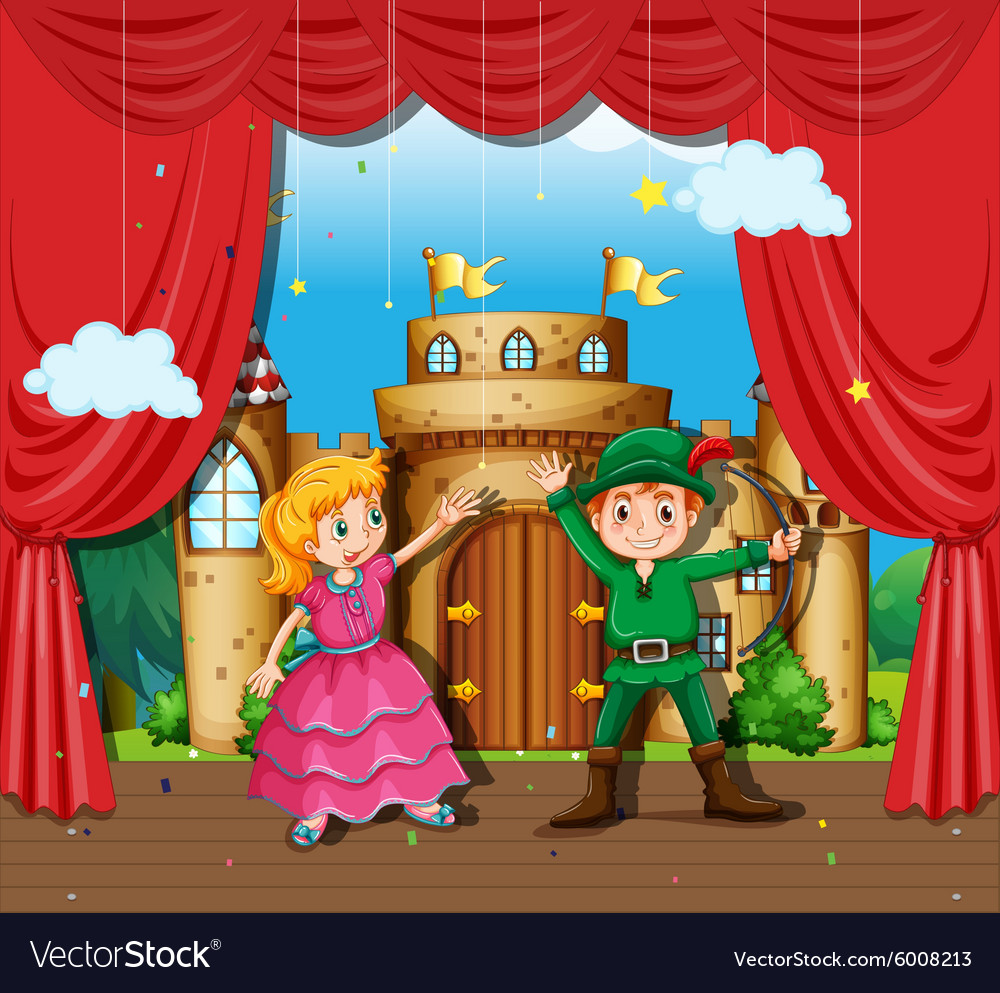 Children doing stage play vector