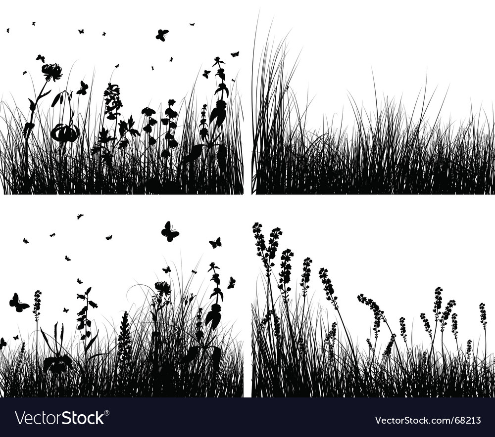 Grass silhouettes set vector