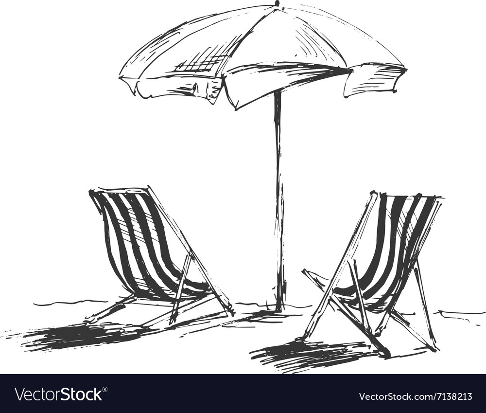 Hand sketch with beach chairs and parasols vector