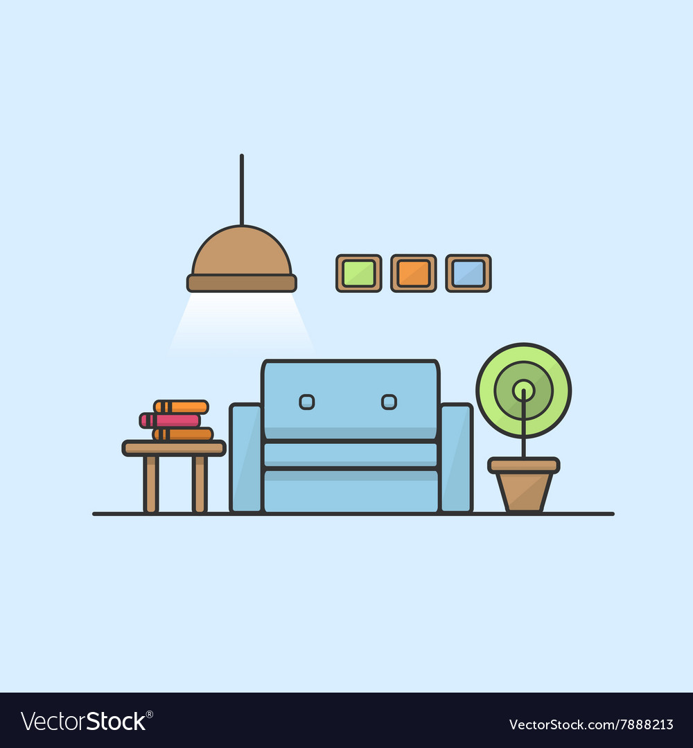 Reading room and recreation line art color vector