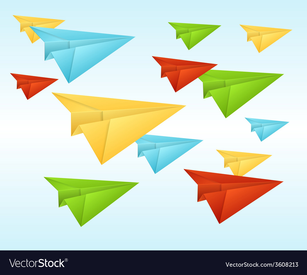 White paper planes on blue sky vector