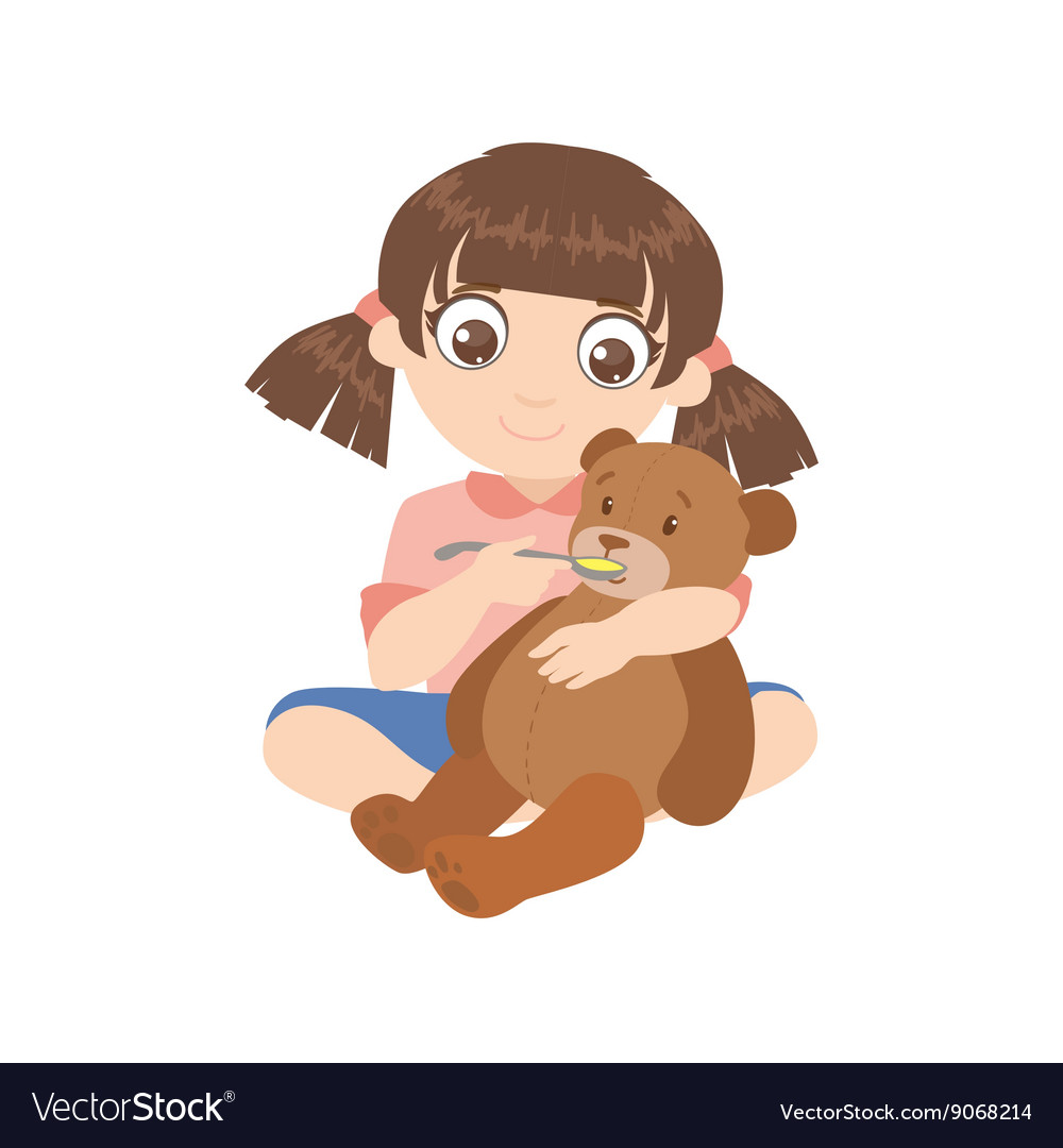 Girl feeding a teddy bear vector