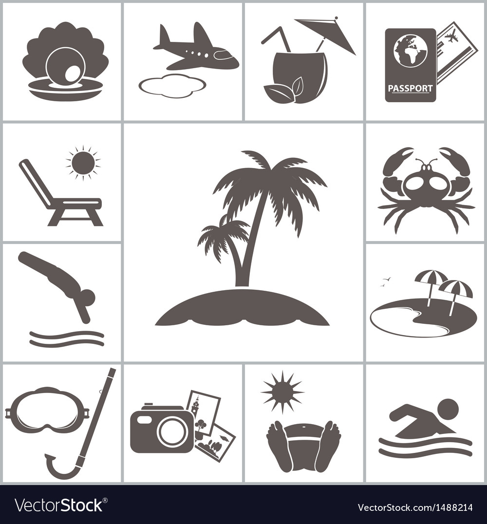 Tropic icons vector