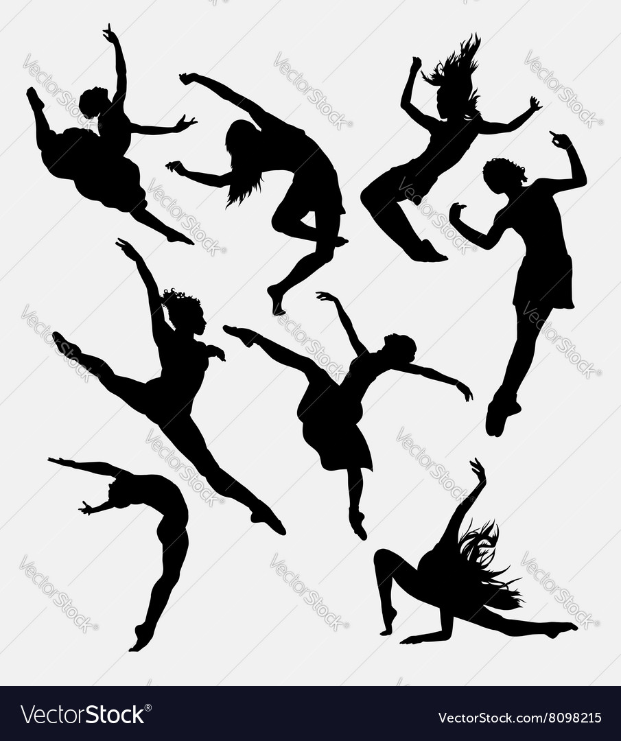 Contemporary dancer pose silhouette vector