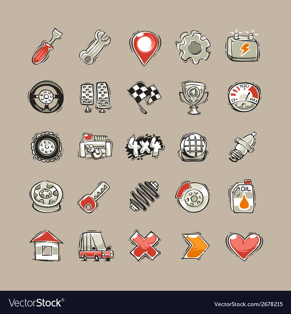 Doodle cars icons set vector