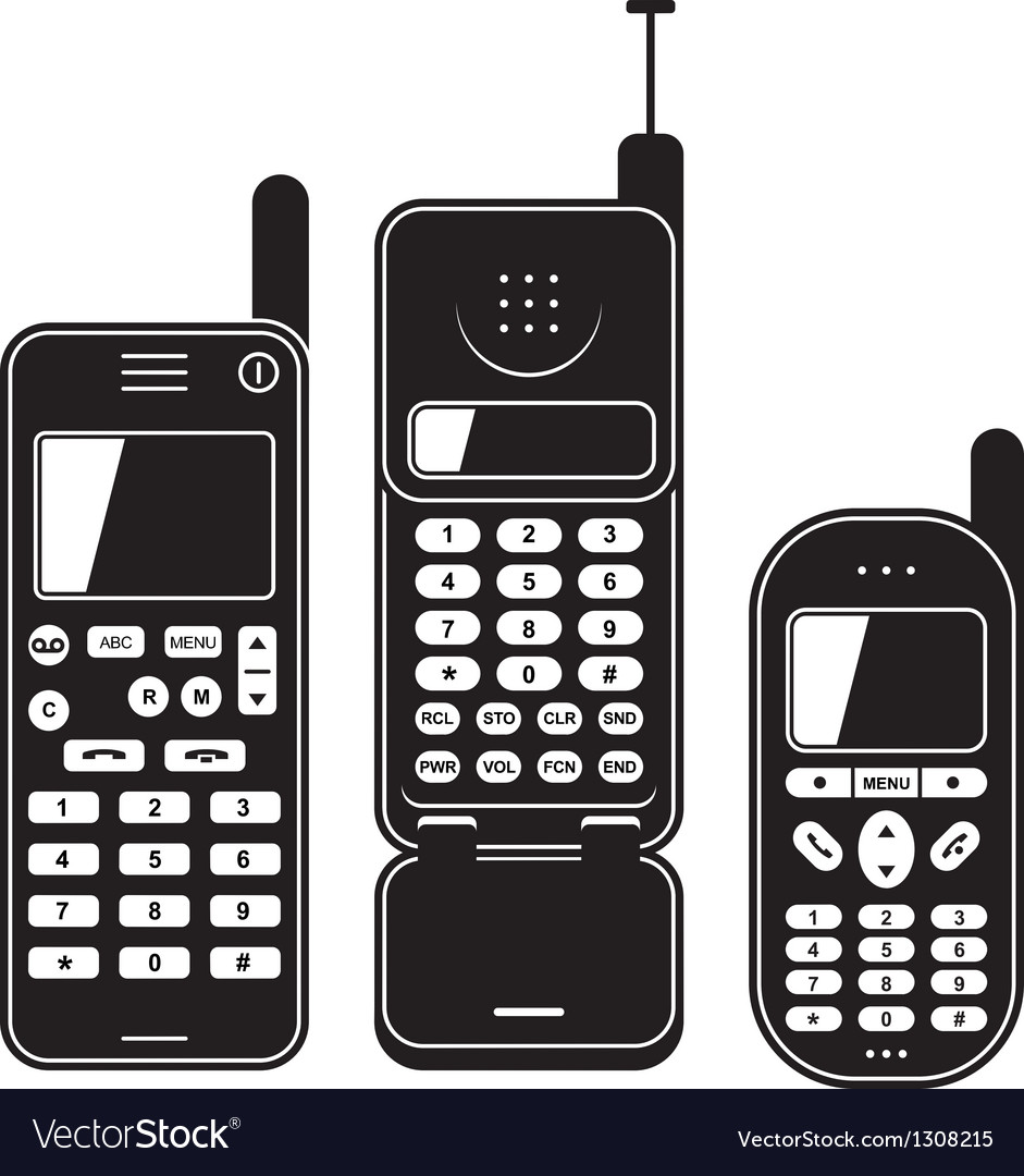 Old mobile phone set black and white vector