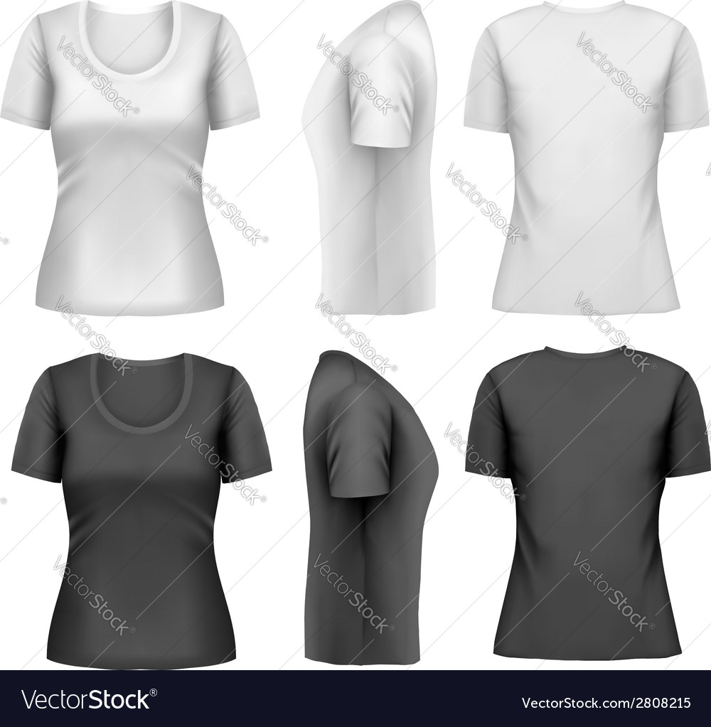 Set of colorful female tshirts vector