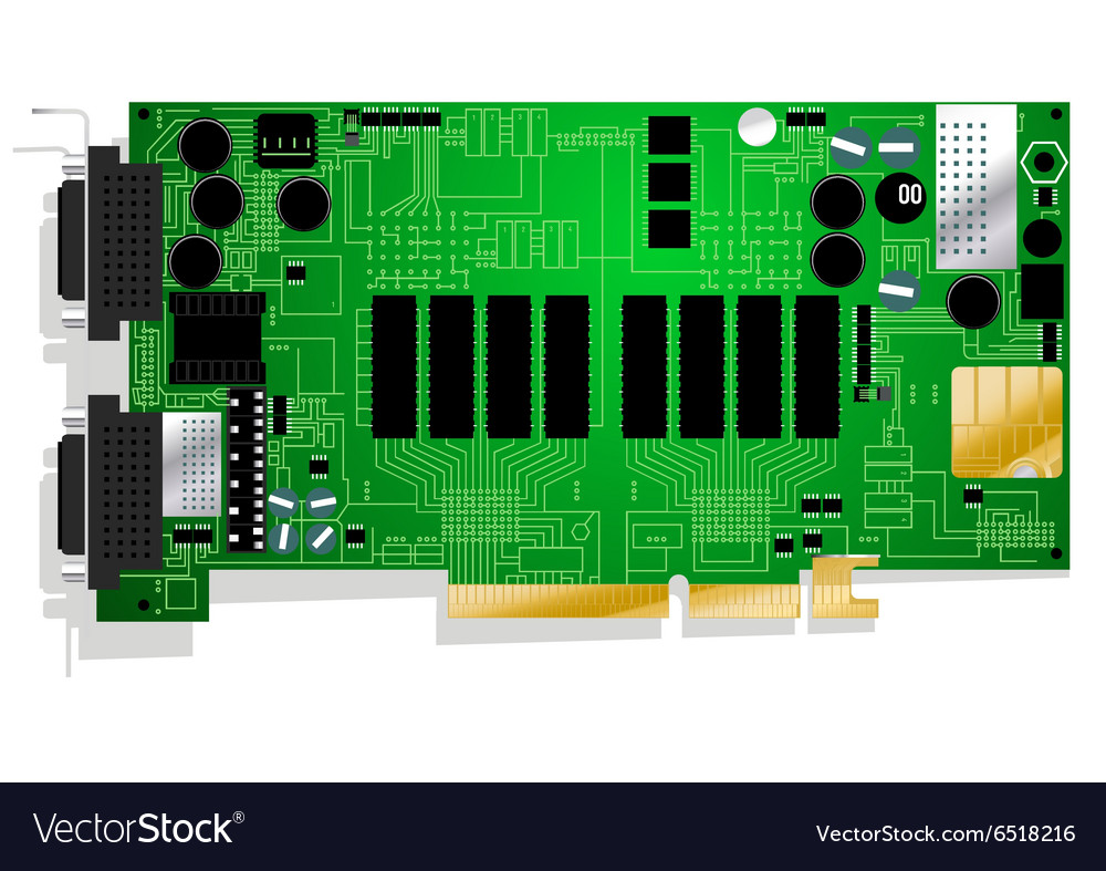 Green graphics card circuit board on white vector