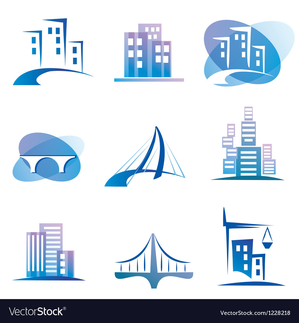 City icons set construction concept vector