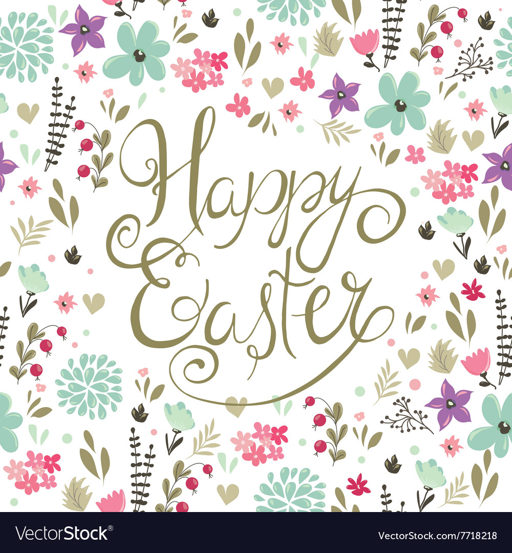 Easter backgroung with spring flowers vector