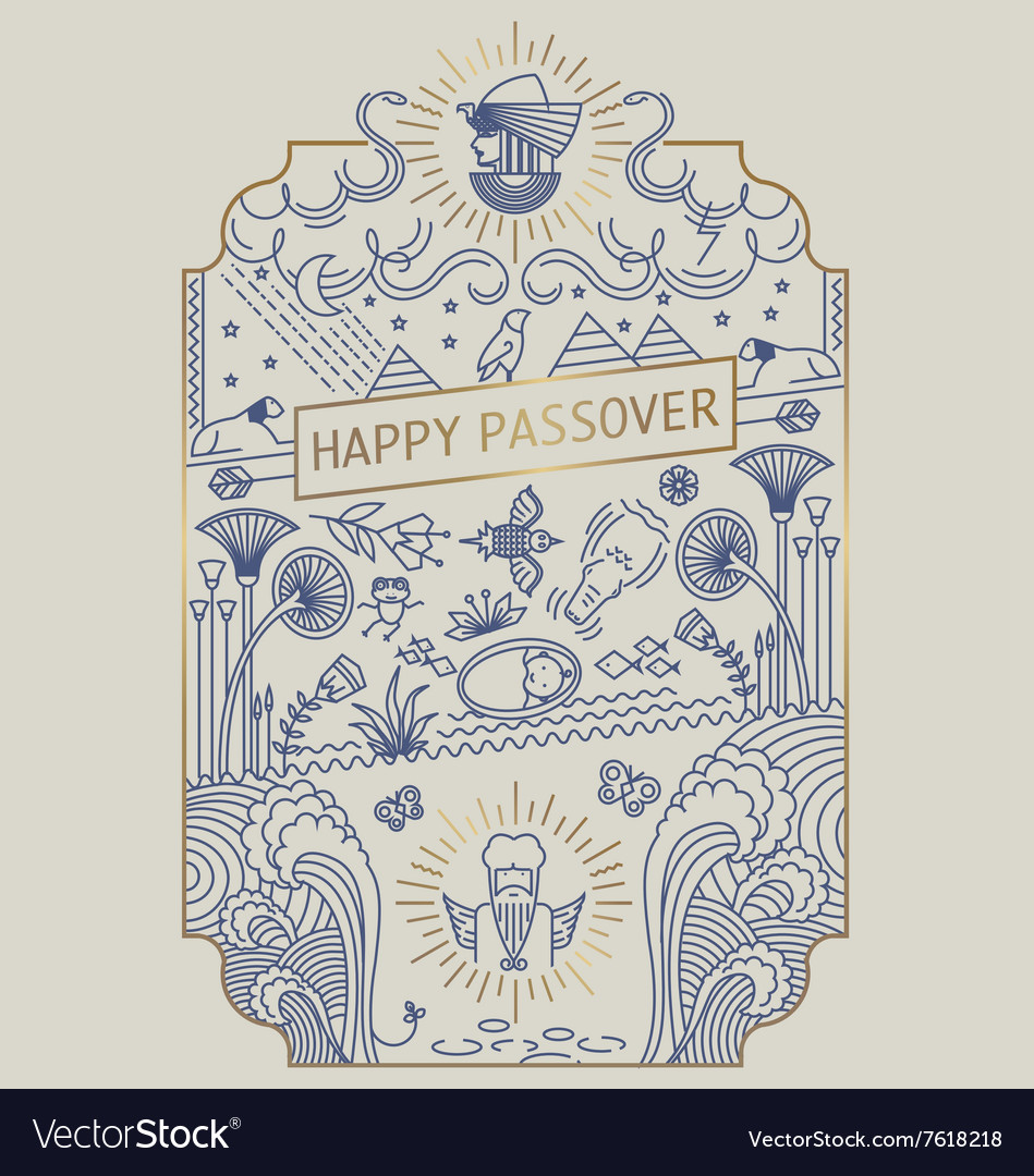 Passover holiday line art card vector