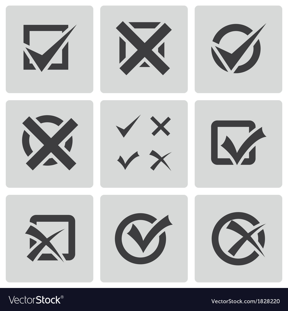 Black check marks icons set vector