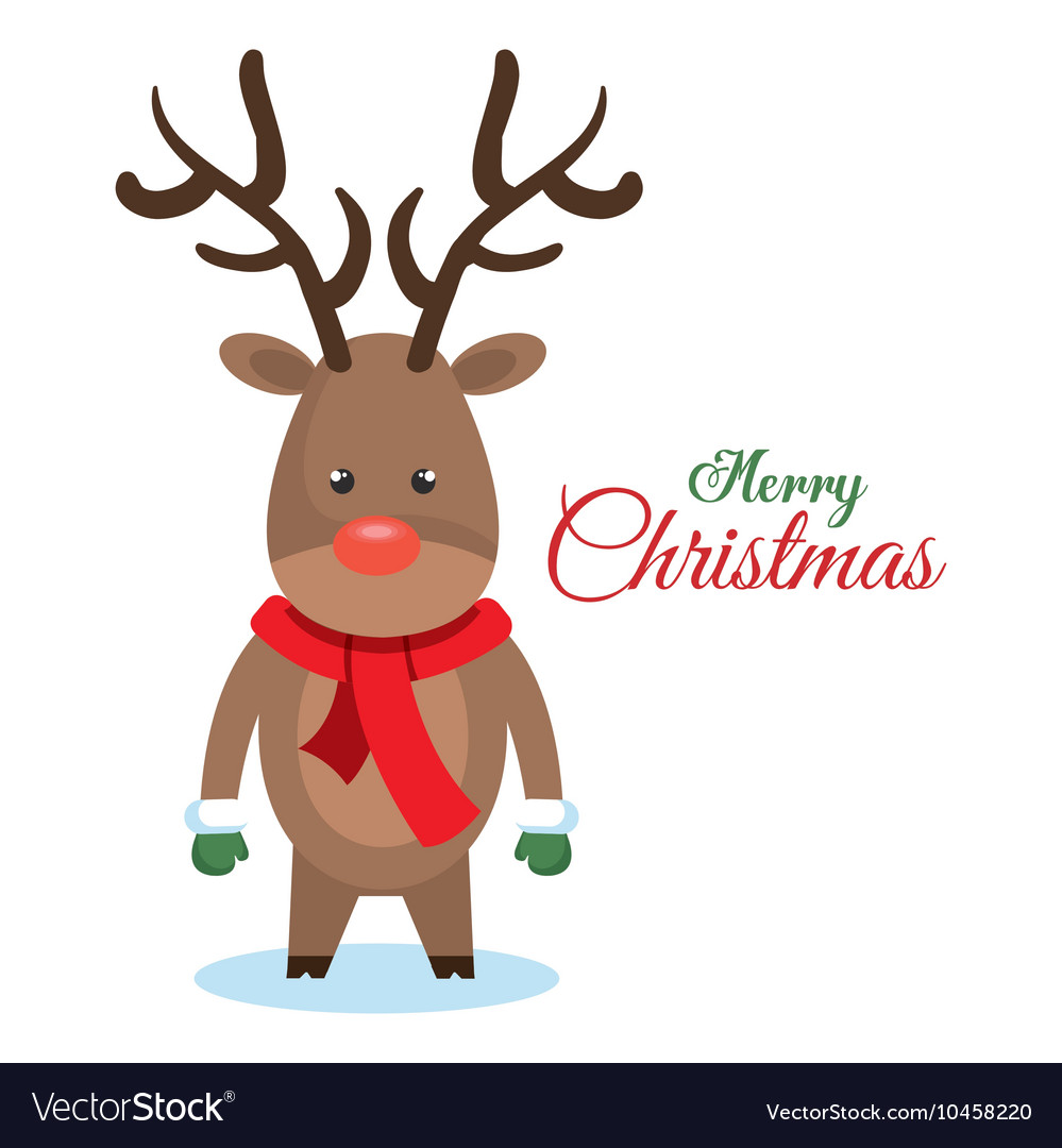 Reindeer christmas character icon vector