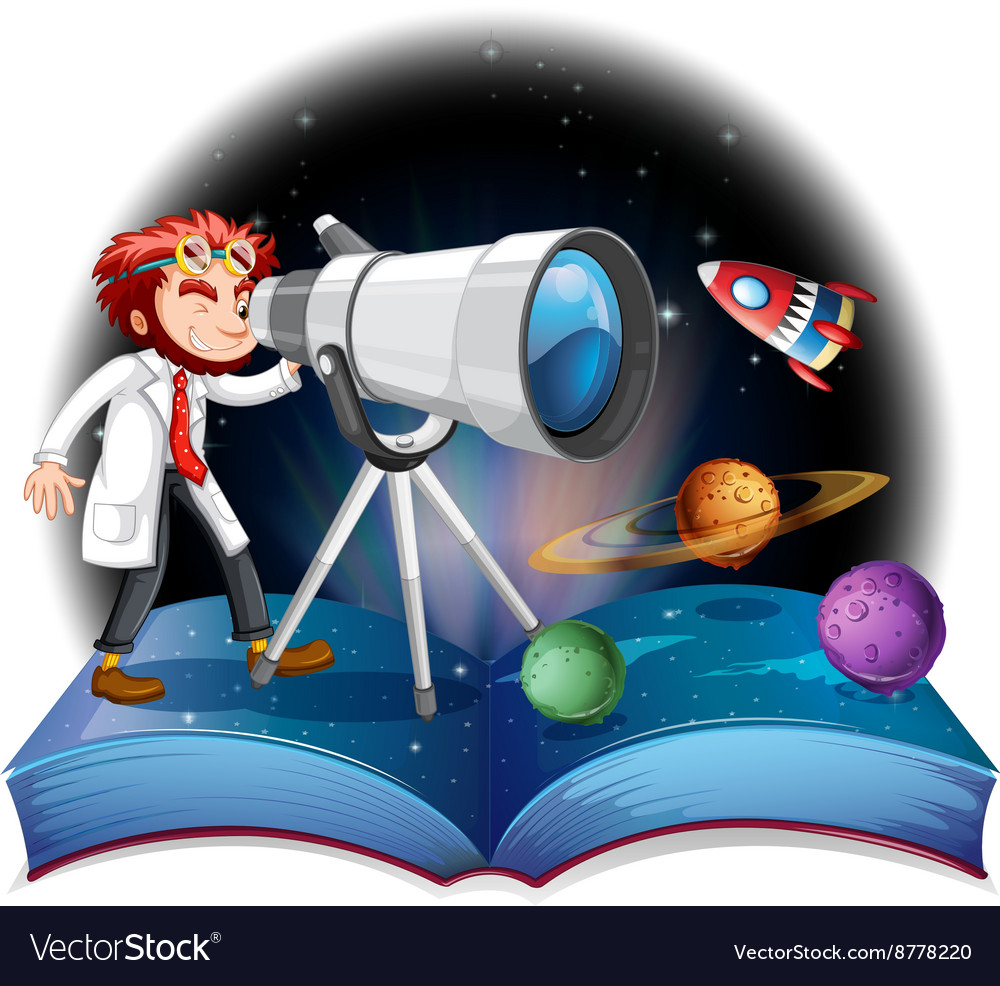 Scientist looking at the telescope vector
