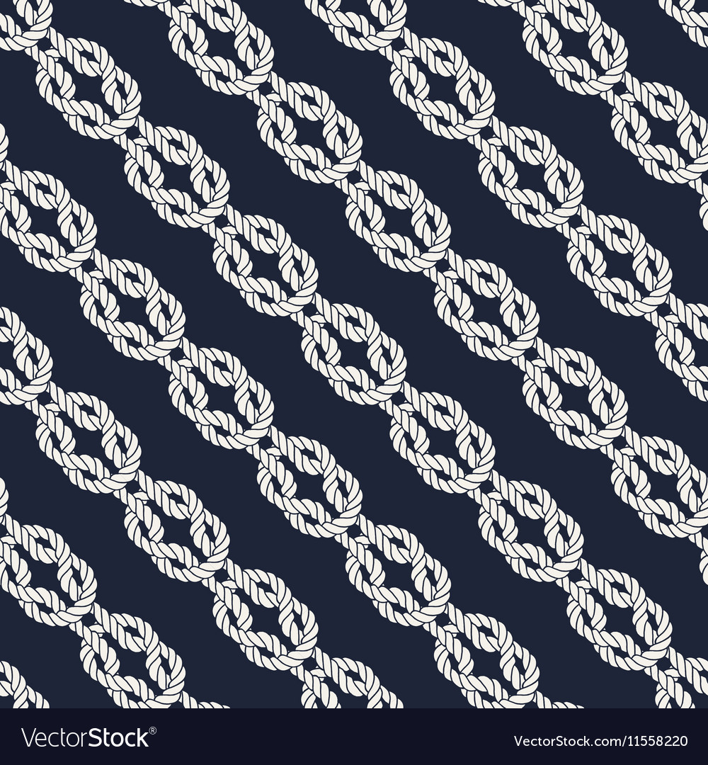 Seamless nautical rope pattern  square knots vector