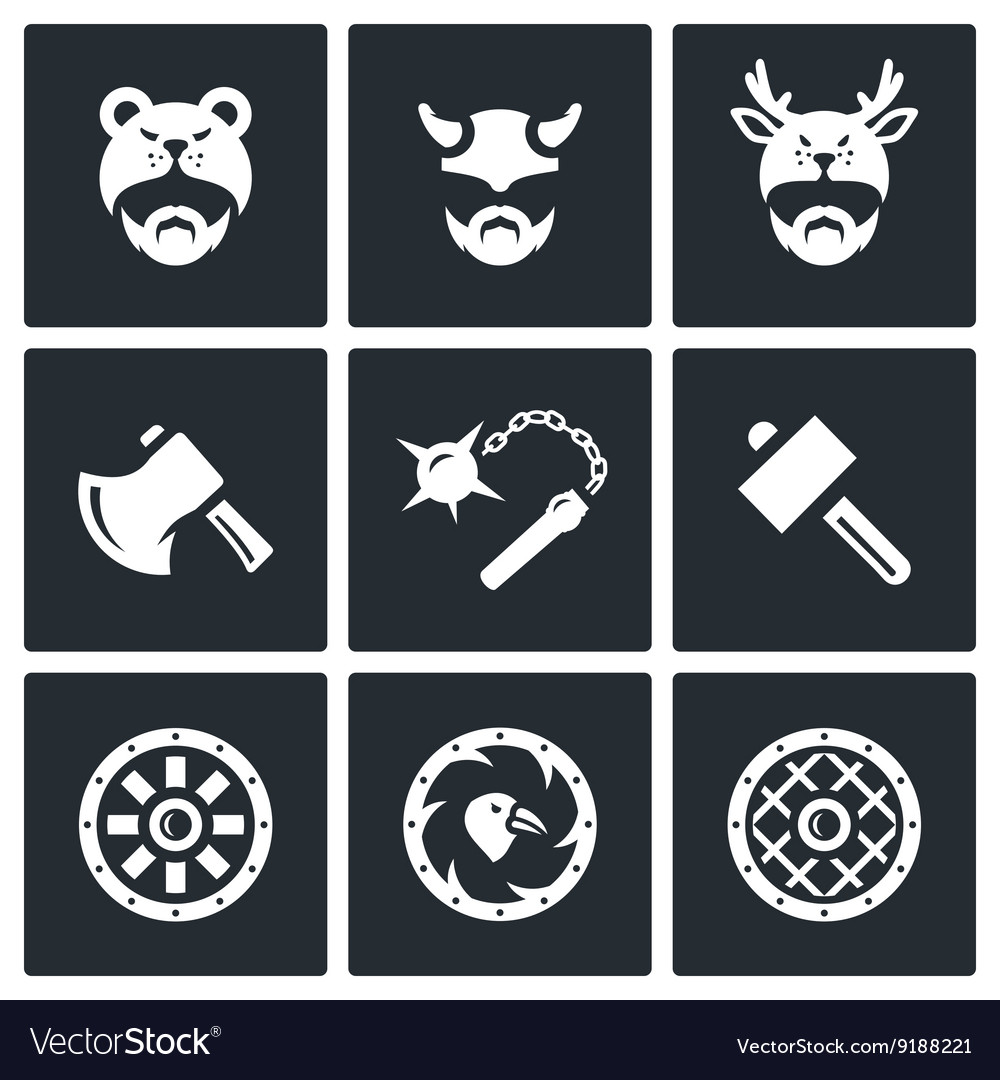 Set of viking weapons icons head man vector