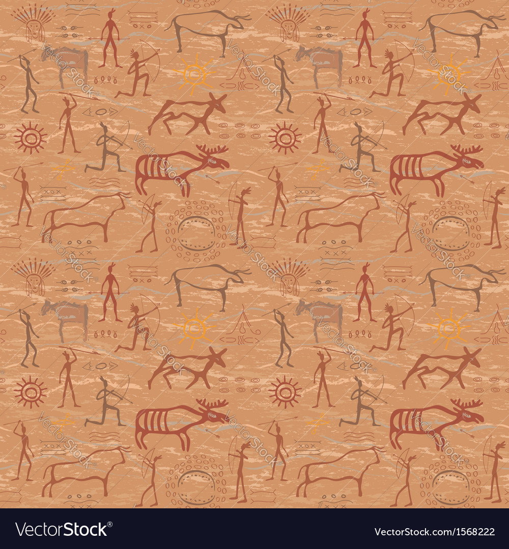 Seamless pattern in the style of rock painting vector
