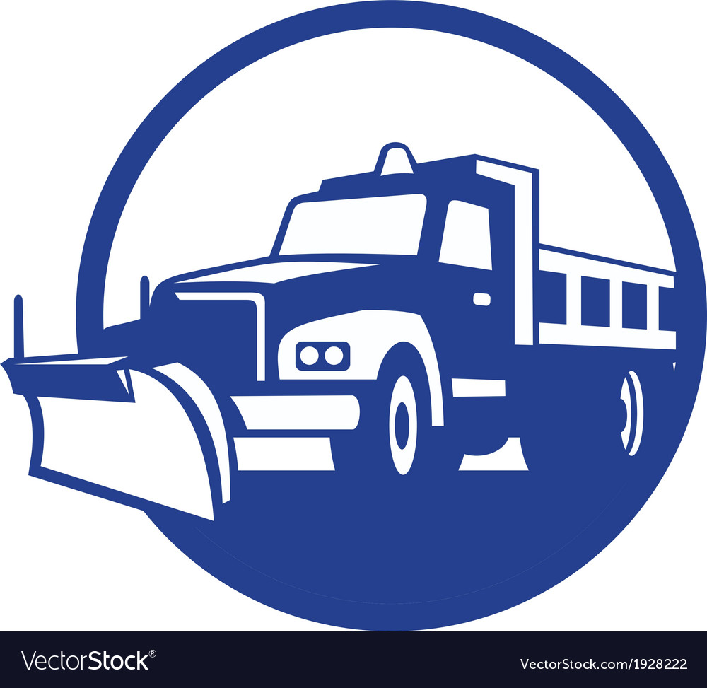 Snow plow truck circle retro vector