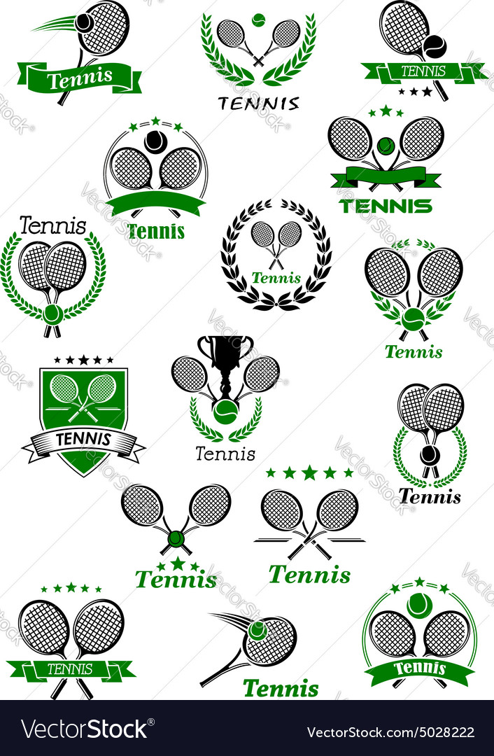 Tennis emblems with balls rackets and trophy vector