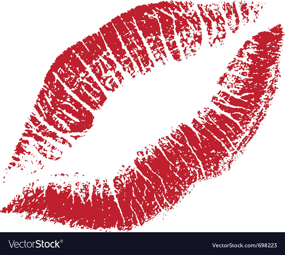 Red lips print silhouette vector